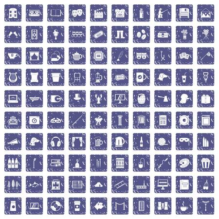 100 leisure icons set in grunge style sapphire color isolated on white background vector illustration