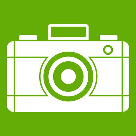 Camera icon white isolated on green background.