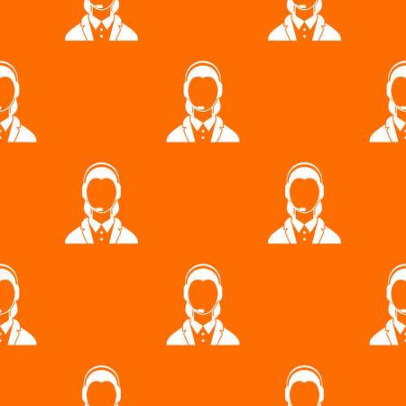 Support phone operator in headset pattern repeat seamless in orange color for any design. Vector geometric illustration Illustration