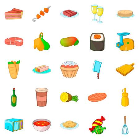 Supper icons set, cartoon style