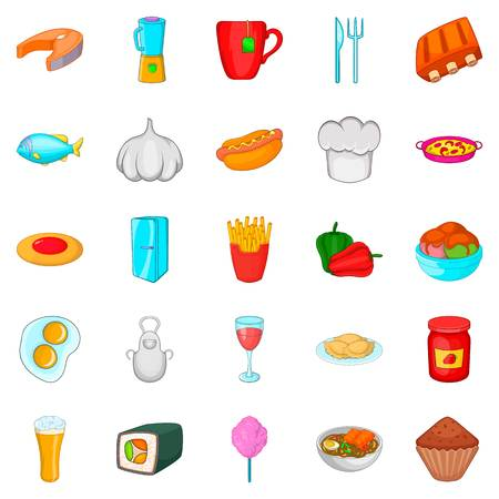 Have supper icons set. Cartoon set of have supper vector icons for web isolated on white background