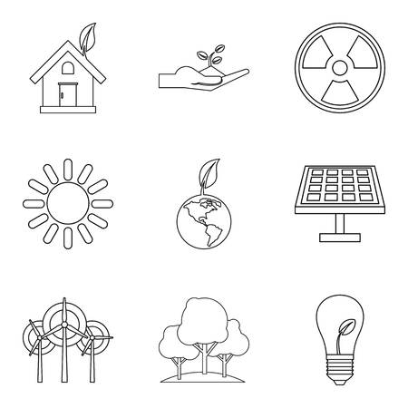 Natural impact icons set. Outline set of 9 natural impact vector icons for web isolated on white background Vettoriali