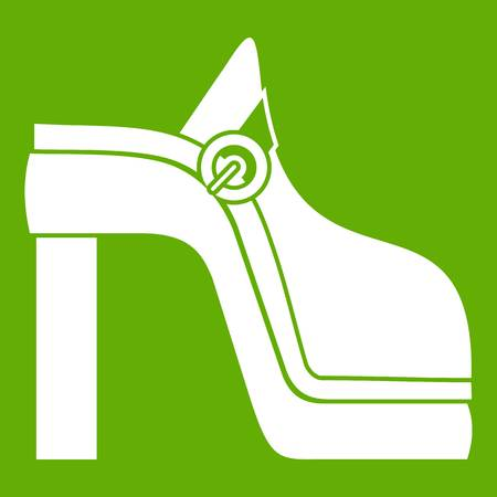 Women shoe icon white isolated on green background. Vector illustration