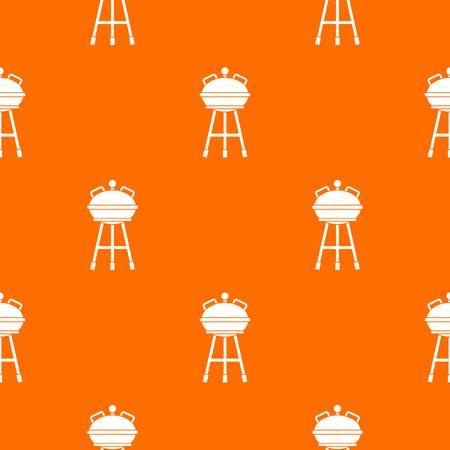 Kettle barbecue pattern repeat seamless in orange color for any design. Vector geometric illustration Illustration
