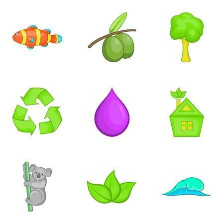 Save nature icons set, cartoon style Illustration