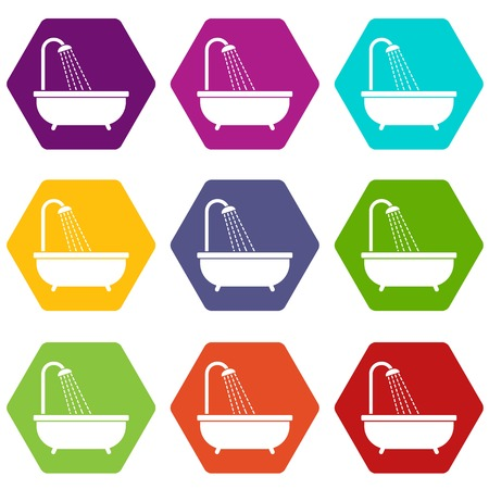Shower icon set many color hexahedron vector illustration