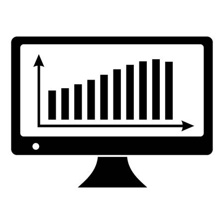 Graph on the monitor icon Illustration
