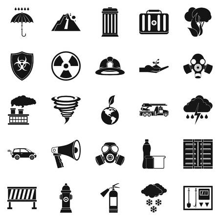 Affliction icons set. Simple set of 25 affliction vector icons for web isolated on white background Illustration