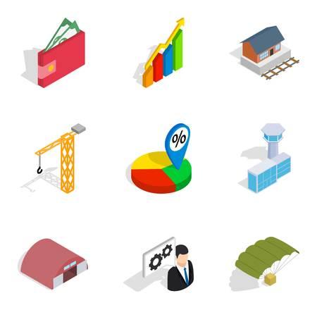Net profit icons set. Isometric set of net profit vector icons for web isolated on white background