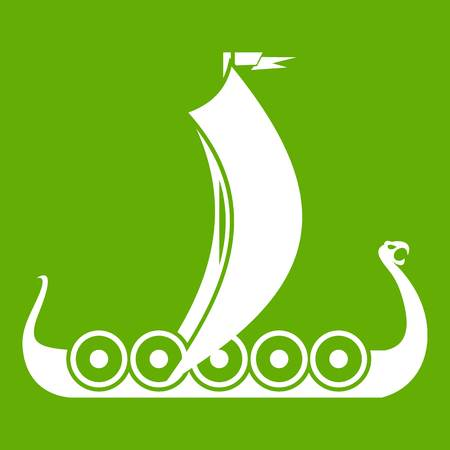 Medieval boat icon white isolated on green background. Vector illustration Illustration