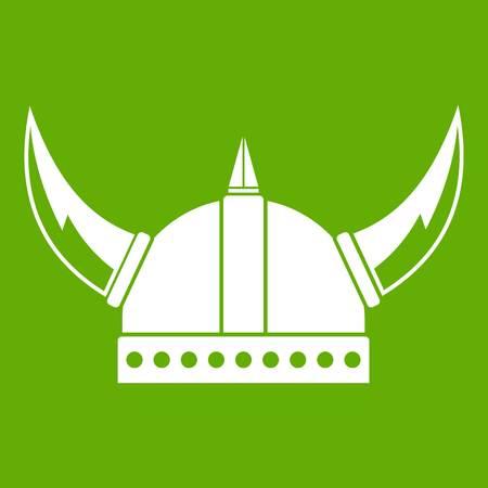 Viking helmet icon white isolated on green background. Vector illustration