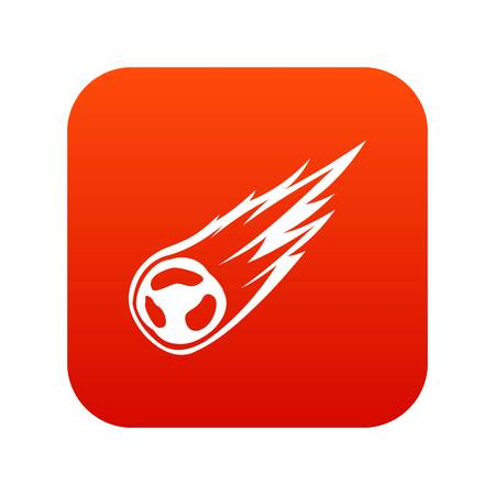 Falling meteor with long tail icon digital red Illustration