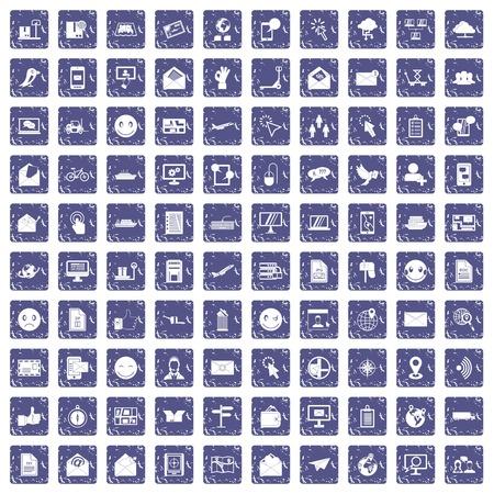 100 mail icons set grunge sapphire
