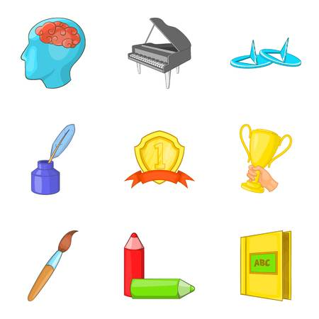 Personal growth icons set, cartoon style