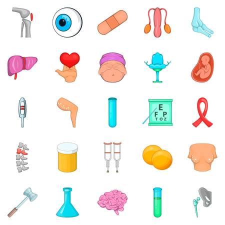Disorganization icons set, cartoon style isolated on white Illustration