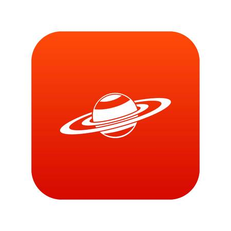 Saturn rings icon digital red isolated on white Illustration