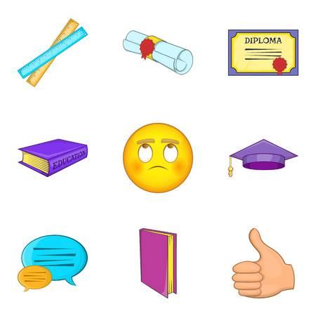 Academic degree icons set, cartoon style