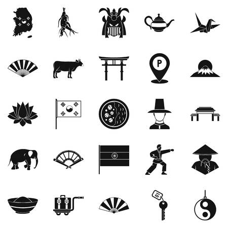 Asian things icons set, simple style Illustration