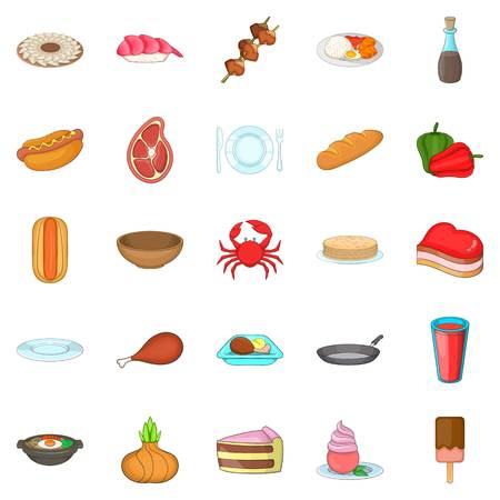 Crockery icons set. Cartoon set of 25 crockery vector icons for web isolated on white background Illustration