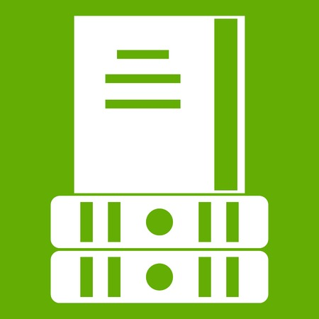 Three books icon white isolated on green background. Vector illustration