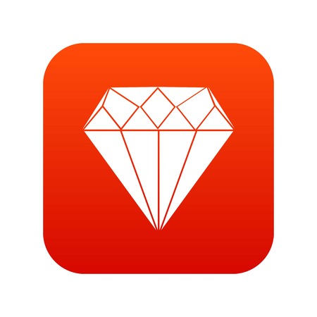 Diamond icon digital red for any design isolated on white vector illustration