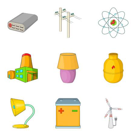Electrical power icons set. Cartoon set of 9 electrical power vector icons for web isolated on white background