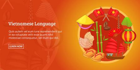 Vietnam banner horizontal concept. Cartoon illustration of Vietnam banner horizontal vector for web Illusztráció