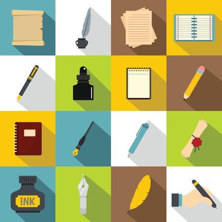 Writing icons set items. Flat illustration of 16 writing items vector icons for web Illustration