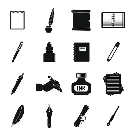 Writing icons set items. Simple illustration of 16 writing items vector icons for web Illustration