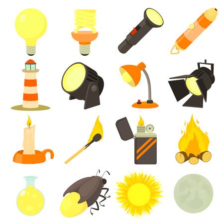 Light source icons set, cartoon style Vettoriali
