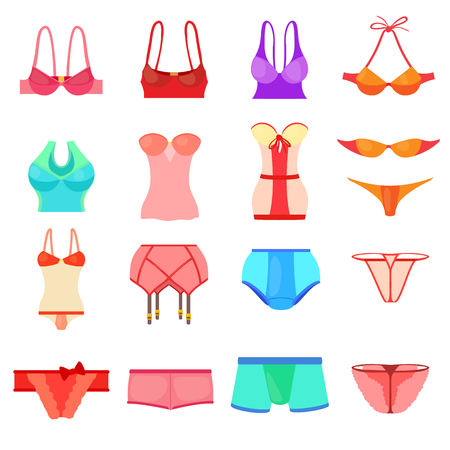 Underwear icons set color, cartoon style