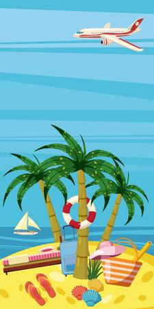 Sea rest banner vertical concept, cartoon style Illustration