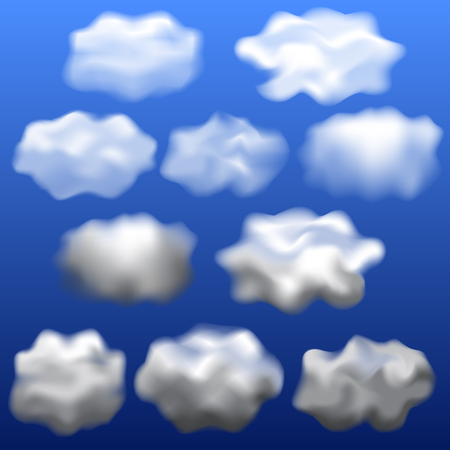 Clouds isolated mockup set. Realistic illustration of 10 clouds isolated mockups for web