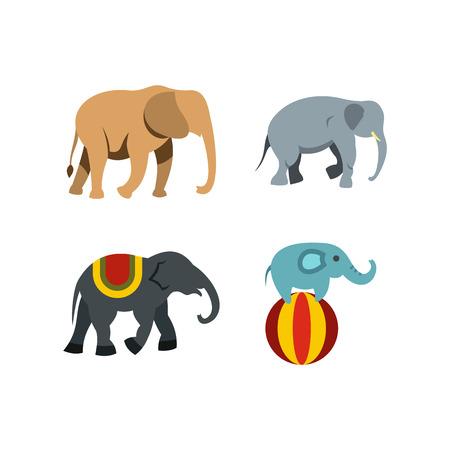 Elephant icon set, flat style