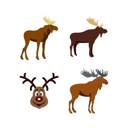 Deer icon set, flat style Stock Vector - 93394667