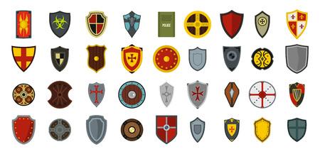 Shield icon set, flat style 일러스트
