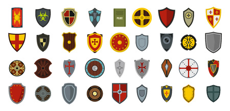 Shield icon set, flat style Vectores