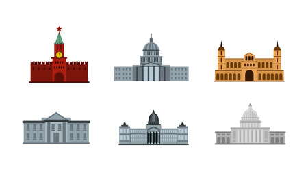 Set of president building flat icons for web design isolated on white background