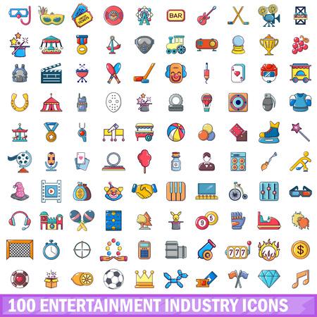 100 entertaiment industry icons set, cartoon style Ilustração