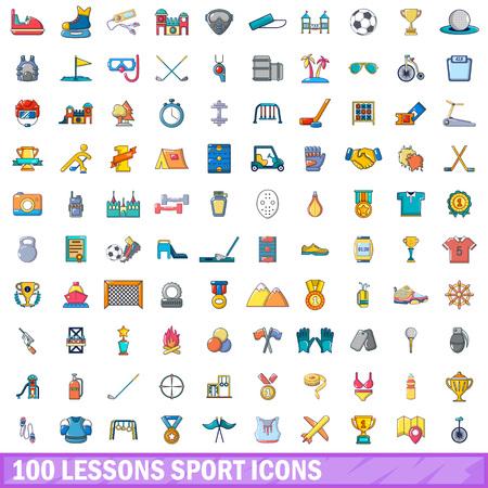 100 icônes de sport de sport . cartoon illustration de 100 icônes de sport vecteur de sport . isolé sur fond blanc Banque d'images - 93370877