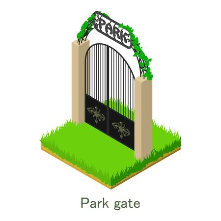 Park gate icon, isometric style.