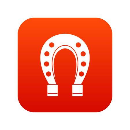 Horse shoe icon digital red