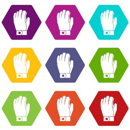Hockey glove icon set color hexahedron Illustration