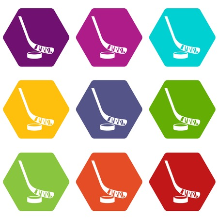Stick and puck icon set color hexahedron