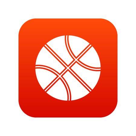 Basketball ball icon digital red