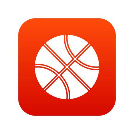 Basketball ball icon digital red