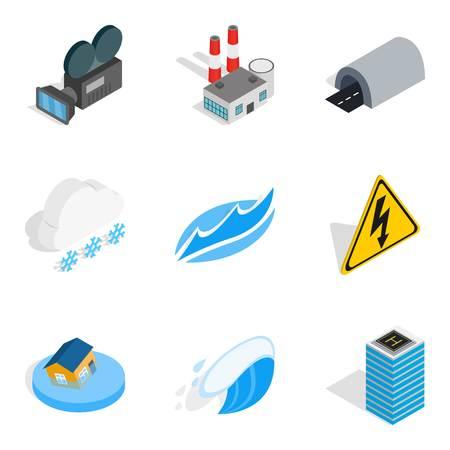 Power the device icons set. Isometric set of power the device vector icons for web isolated on white background Illustration