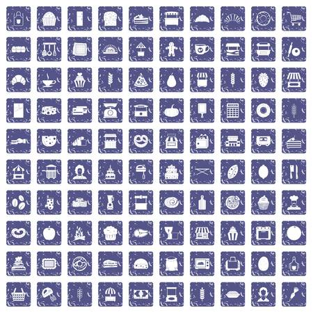 100 bakery icons set in grunge style sapphire color isolated on white background vector illustration  イラスト・ベクター素材
