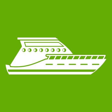 Yacht icon white isolated on green background.
