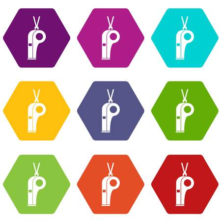 Whistle icon set in colored hexahedron.
